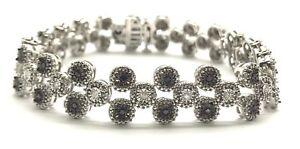 Sterling-Silver-1-00-CTW-Black-Clear-Diamond-Circles-Elegant-Tennis-Bracelet