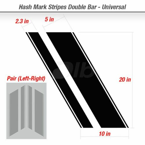 Hash Mark Stripes Double Bar Side Fender Stripe Grand Decal Universal Car Decals