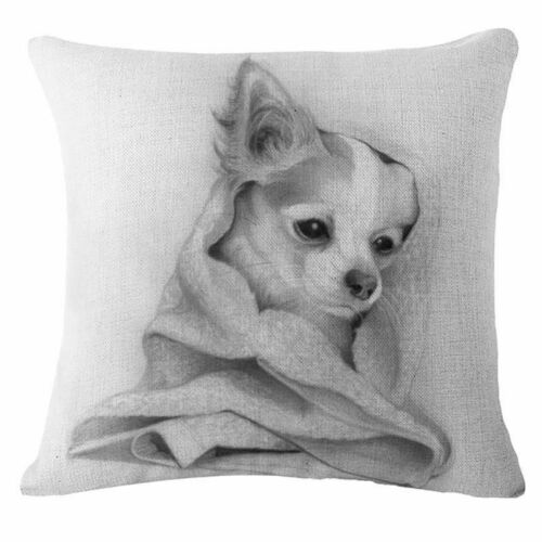 """Dog 18/"""" Vintage Cotton Linen Pillow Case Sofa Throw Cushion Cover Home Decor"""