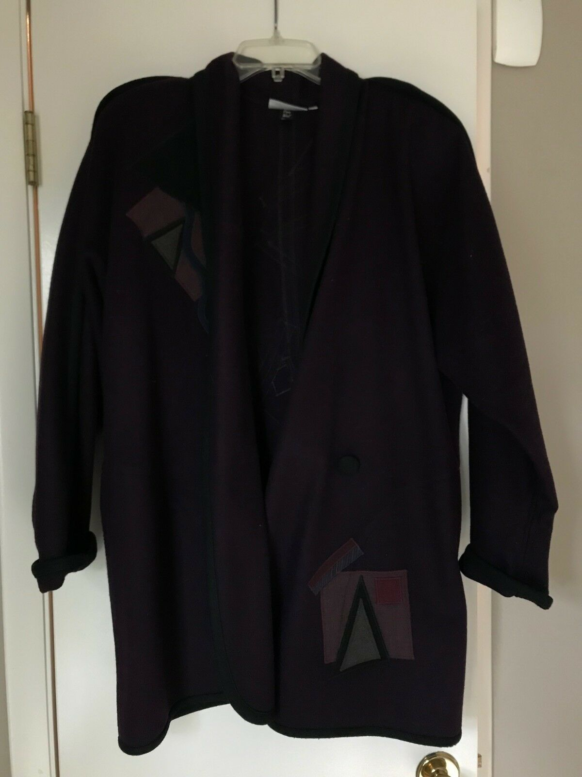 LARGE Burgundy beppa coat Geometric designs Outerwear GOOD condition