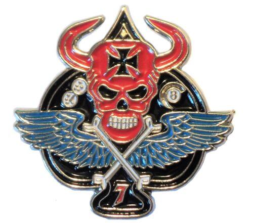 Death Skull Winged Ace Iron Cross Biker Rocker Metal Enamel Motorcycle Badge NEW
