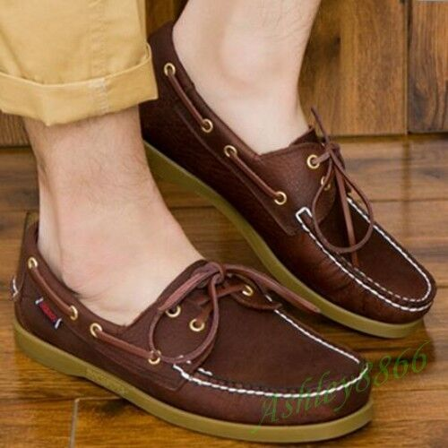 Mens New Lace Up Casual Boat Deck Mocassin Gommino Loafers Driving shoes Size