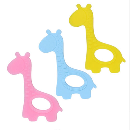 Silicone Animal Baby Teether Giraffe Teething Pendant Necklace BPA Chew Toy 6A