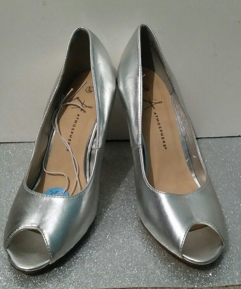 BNWT Ladies Primark/ Atmosphere Peep Toe Silver Heels UK Size 6