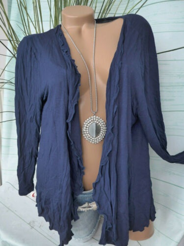 44//46 Blau Sheego Strickjacke Cardigan Shirtjacke Damen Gr 762