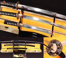 Japanese Samurai Sword SET(Katana+Wakizashi+Tanto)T10 Clay Tempered Sharp Blade