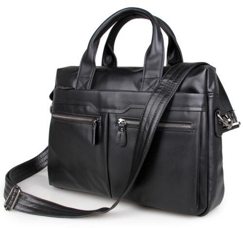 """Leather 15.5/"""" Briefcase For Men Black Messenger Shoulder Bag Business Handbag"""