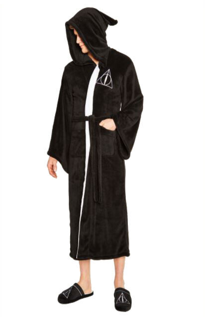 HARRY POTTER DEATHLY HALLOWS MENS LUXURIOUS SOFT DRESSING GOWN BATHROBE ROBE