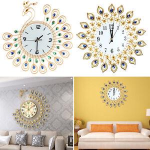 Luxury Diamond Home Large Peacock Wall Mounted Metal Clock Living Room Art Decor Ebay