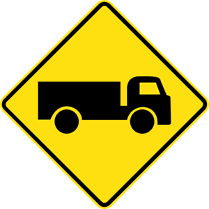 TRUCKS-CROSSING-OR-ENTERING-W5-22-SELF-ADHESIVE-STICKER-DECAL-SIGN-HEA