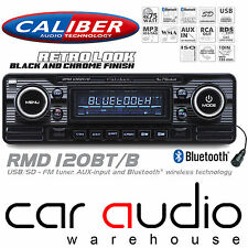 Classic Retro Mechless BLUETOOTH USB AUX Car Stereo Radio Player BLACK RMD120BTB