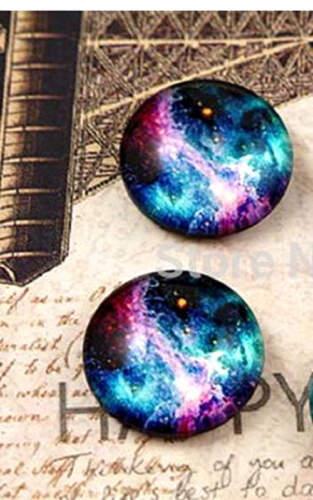 NEBULA SKY CABOCHON GLASS STUD EARRINGS 12MM