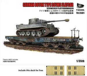 T-Model-TK3501-I-1-35-WWII-German-80ton-Type-SSYMS-Flatcar-Assembly-Model-Kits