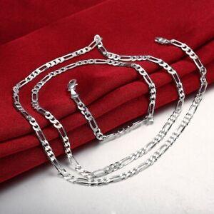 24-034-18K-White-Gold-Plat-Necklace-Shiny-Italian-Figaro-Chain-Pure-Italy-Wholesale