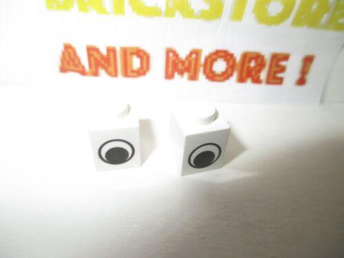 Lego 2x Brick Brique Oeil Eye Pattern 3005pe1 White//Blanc//Weiss