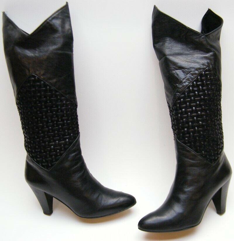 WOMENS VINTAGE 80s BAREFOOT ORIGINALS ROCKER BLK TALL HIGH HEEL BOOTS 5.5~1/2 M