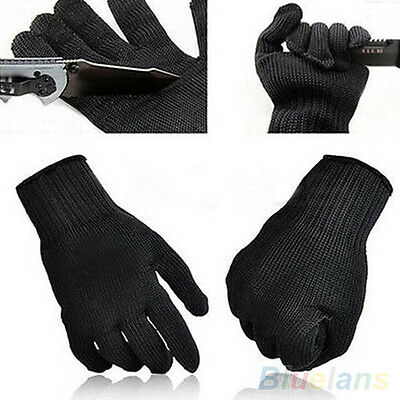 1 Pair Black Stainless Steel Wire Safety Cut Metal Mesh Butcher Gloves Protector