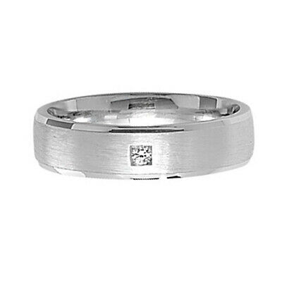925 Sterling Silver Womens Mens 5mm Satin 8 CZ Wedding Band Ring Silver Band J-Z
