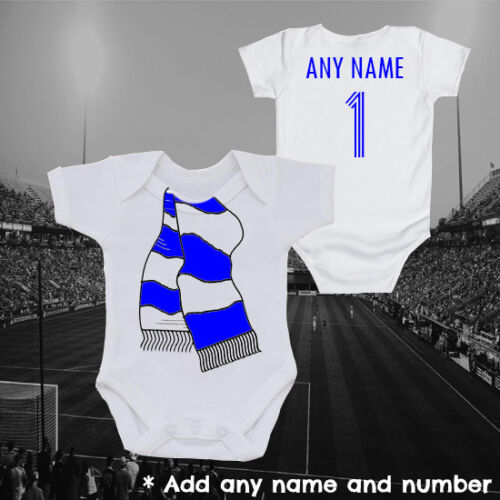 London Blue Football Scarf /& Personalised Baby Grow Vest Gift Newborn Kids