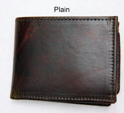 Mens Leather Wallet Brown Bi-Fold Billfold Antique Embossed USA Made