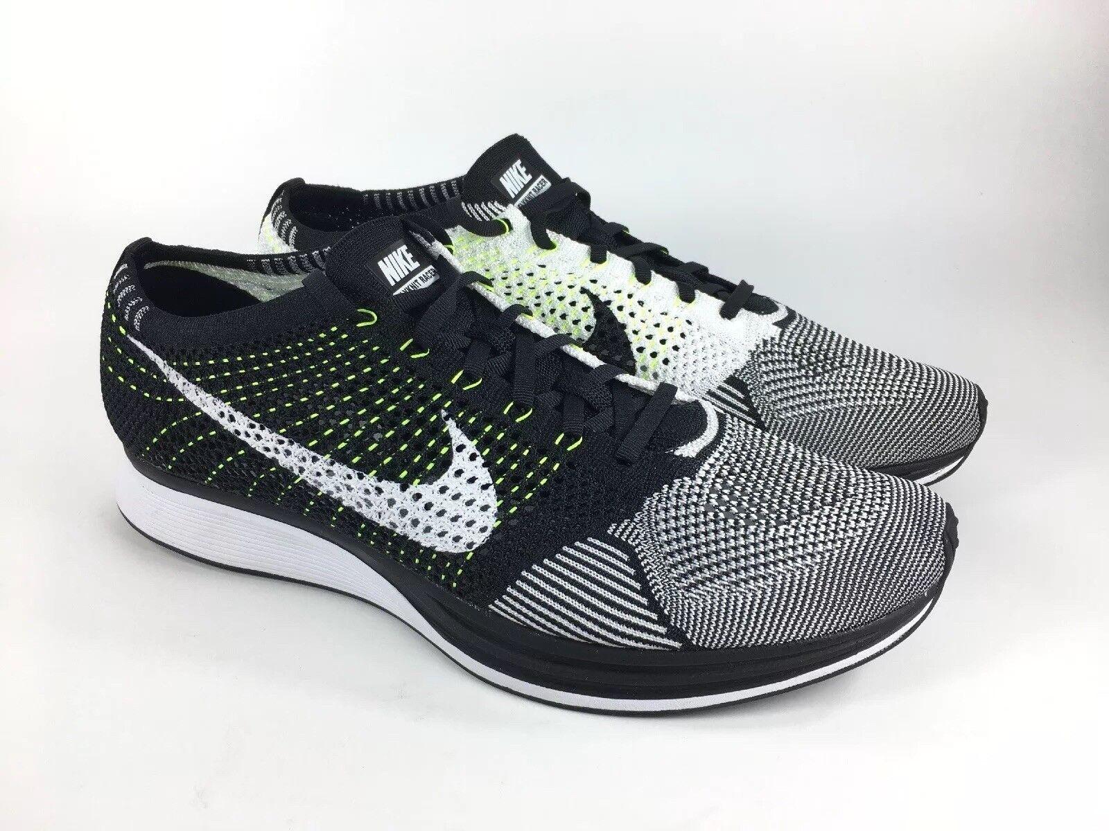 Nike Flyknit Racer Running Black White Oreo Volt Men's Size 13 (526628-011)