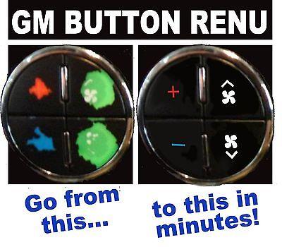 GM Button Decals Sierra Silverado Envoy Yukon Tahoe Climate Control A/C REPAIR