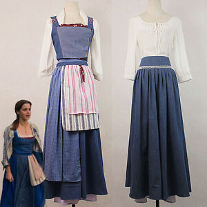 Image is loading New-Version-Adult-Belle-Blue-Maid-Dress-Beauty-  sc 1 st  eBay & New Version Adult Belle Blue Maid Dress Beauty and the Beast Cosplay ...