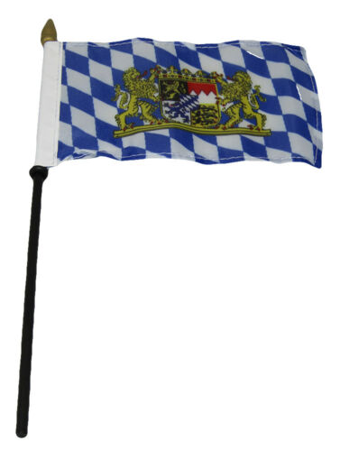 "Bavaria Lions /& Crest 4/""x6/"" Flag Desk Set Table Wooden Stick Staff"