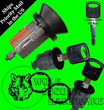 Ford Mazda Ignition Key Switch Lock Cylinder & Door Lock Set Black 3 Regular Key