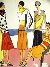 Femenil Art Deco RESORT WEAR STRIPES & STARS 1929 Spanish Fashion Ad Matted