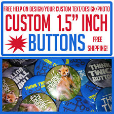 "100 Custom 1.5"" inch Buttons Badges Pins Punk Indie Bands Rock Pinback"