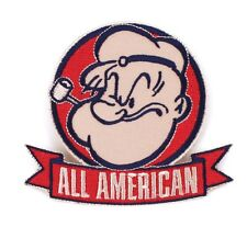 Popeye All American Iron-On Patch 3 1/2 x 3 1/2 Free Ship Licensed PCH-POP0802