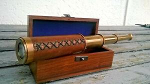 Telescope-longue-vue-marine-en-laiton-Stanley-London-38cm-dans-son-coffret-bois