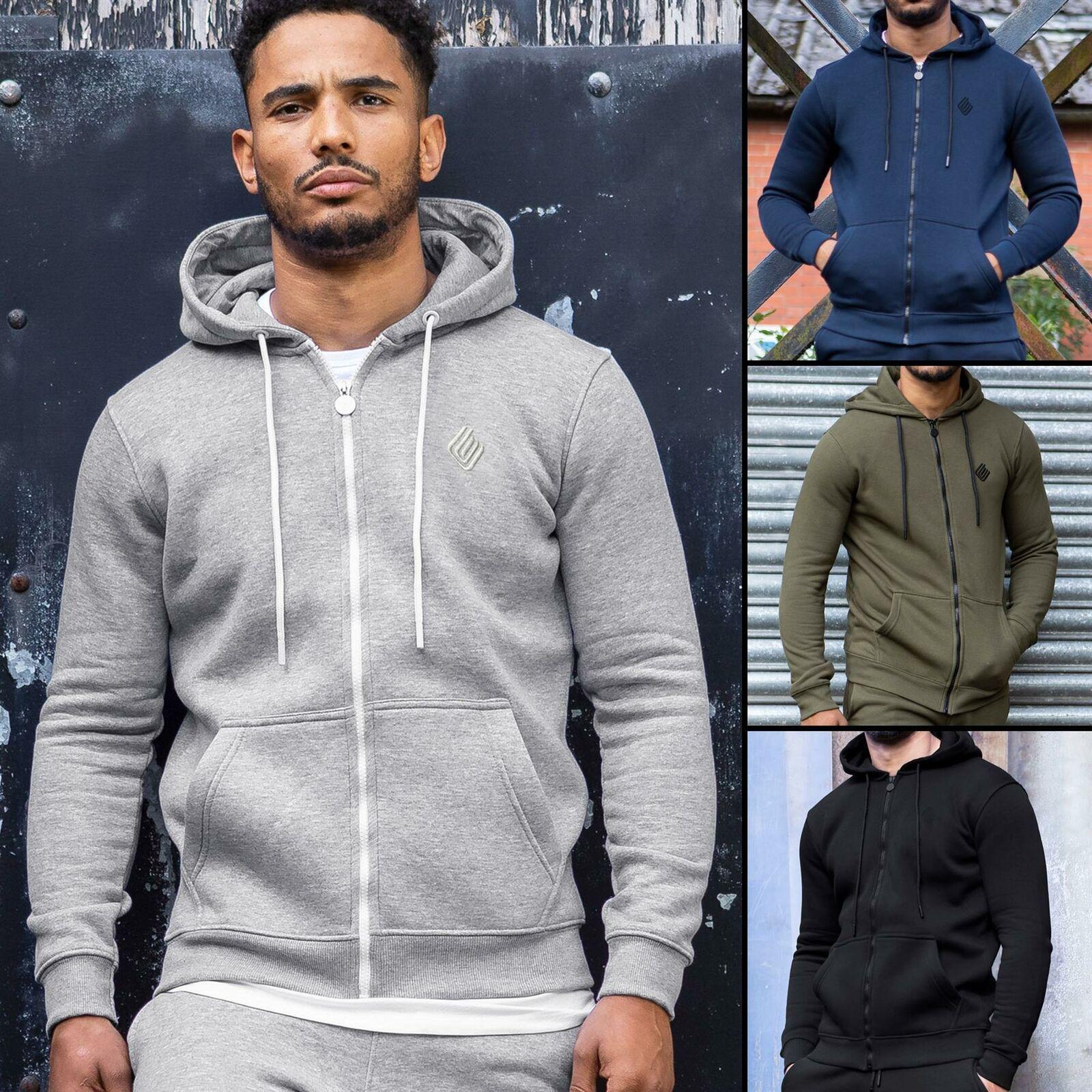 Mens Hoodie Zip Up Hooded Fleece Hoody Coat Winter Warm Jacket Top By Enzo Jeans