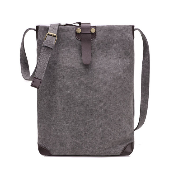 Vertical Men Canvas Messenger Shoulder Bags Solid Cross Body Bag 22*32*5 CM