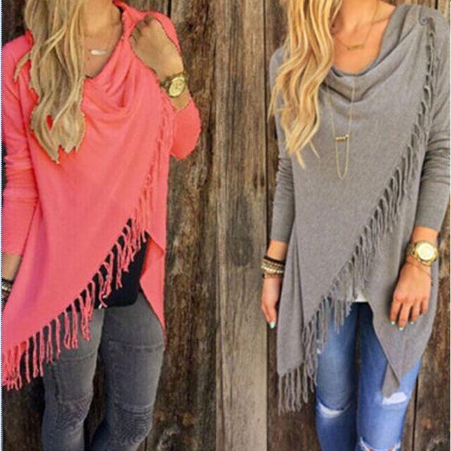 HOT Women Long Sleeve Knitted Cardigan Loose Sweater Outwear Jacket Tassels Coat