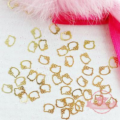 40 pcs Hello Kitty Gold Metal detailed cute nail art 3D Nail Design