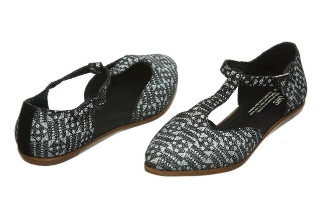 f790ce39a NEW Authentic TOMS Jutti T-Strap, Black/White Suede Printed Tiles Women Size