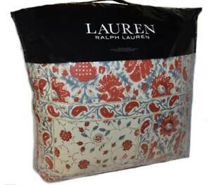 24b93e7f Details about RALPH LAUREN Kelsey Bohemian Red Blue Cream Floral Paisley 3P  KING COMFORTER SET