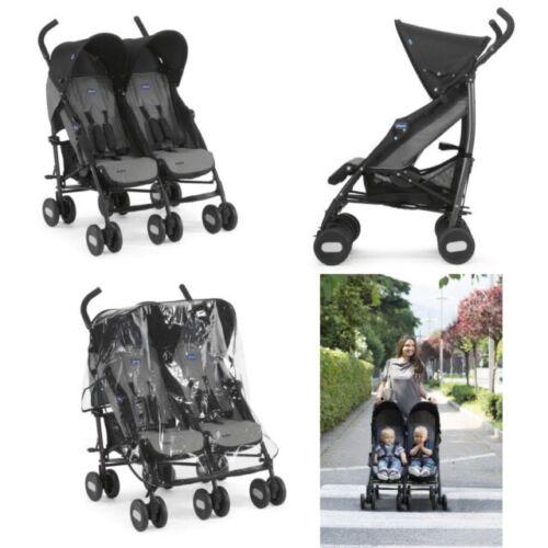 Coal Grey Chicco Echo Twin Stroller Double Baby Pushchair