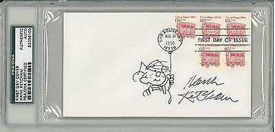 #83398103 Sale Overall Discount 50-70% psa/dna Hank Ketcham Signed Authentic First Day Cover W/ Sketch