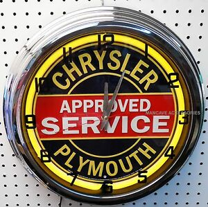 "17"" CHRYSLER PLYMOUTH Approved Service Sign Single Neon Clock"