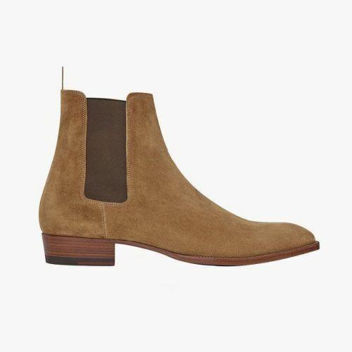 botas para hombre Hecho a Mano Bronceado Camel Cuero De Gamuza Tobillo Zapatos Casuales De Vestir Ropa Formal