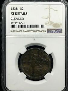 1838 Coronet Head Large Cent NGC XF-Details Cleaned 1C Penny Coin .