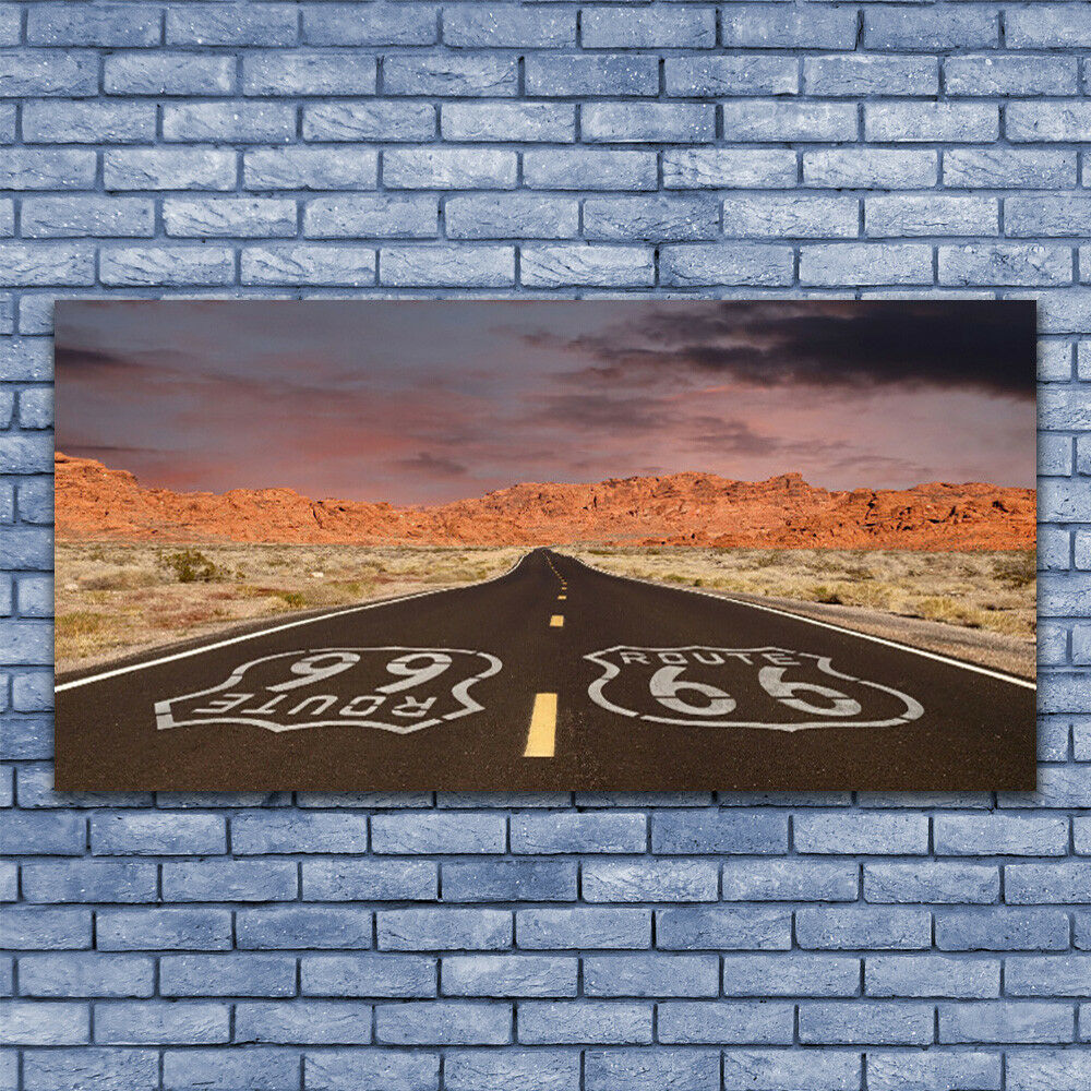 Print on Glass Wall art 140x70 Picture Image Road Landscape