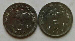 Seconhd Series 5 sen coin 1994 2 pcs