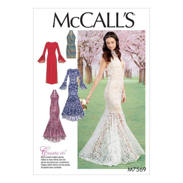 McCalls Pattern 7569 Misses Column Trumpet Dresses Variations Sz 14 ...