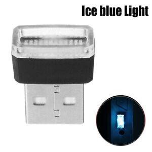 1x-Mini-USB-LED-Azul-Hielo-Lampara-de-luz-ambiente-inalambrico-coche-Accesorios-de-neon