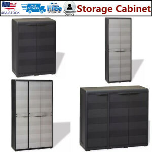 Details About Outdoor Storage Cabinet Plastic Horizontal Shed Garage  Shelves Garden Lockable