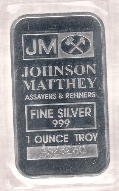 Johnson Matthey 1 oz 999 Fine Silver Bar - SEALED!